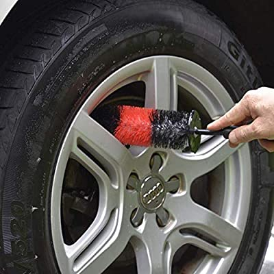 YISHARRY LI Wheel Brush, Soft Bristle Long Master Car Rim Brush Easy Reach Tire Detailing Brush Washing Brush use for Tire, Rim, Engine, Motorcycle: Automotive
