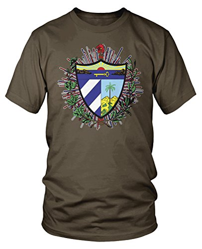 Amdesco Men's Coat of arms of Cuba, Cuban Coat of Arms T-Shirt, Dark Chocolate Large