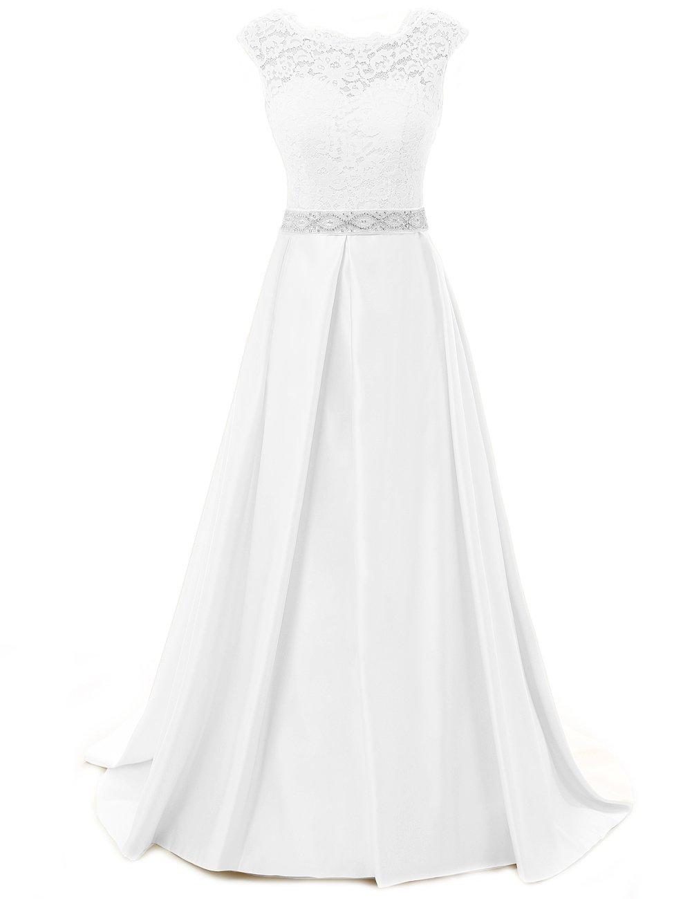 JAEDEN Vestidos de novia para la novia Vintage simple manga nupcial del vestido del casquillo