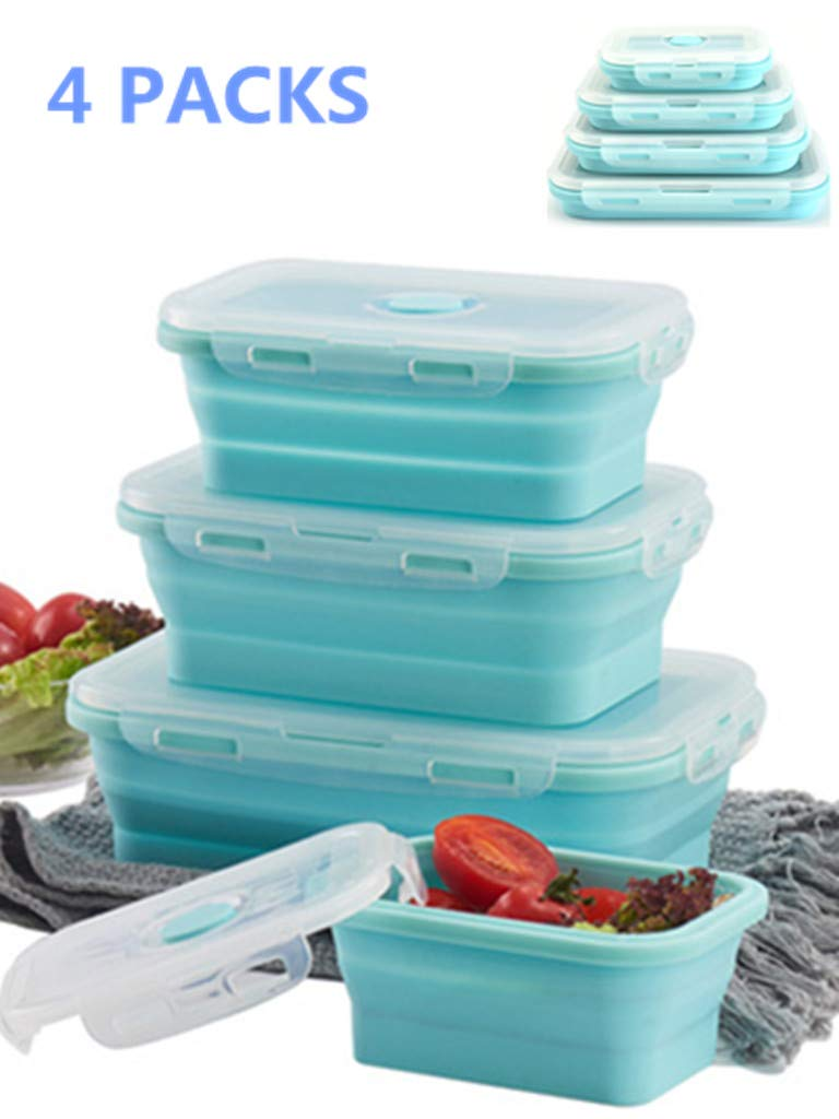 Set of 4 Collapsible Food Storage Containers with Lids Portable Silicone Food Containers Microwave Freezer Safe Lunch Box Bento Box Folding Outdoor Picnic Travel Food Containers(Blue)