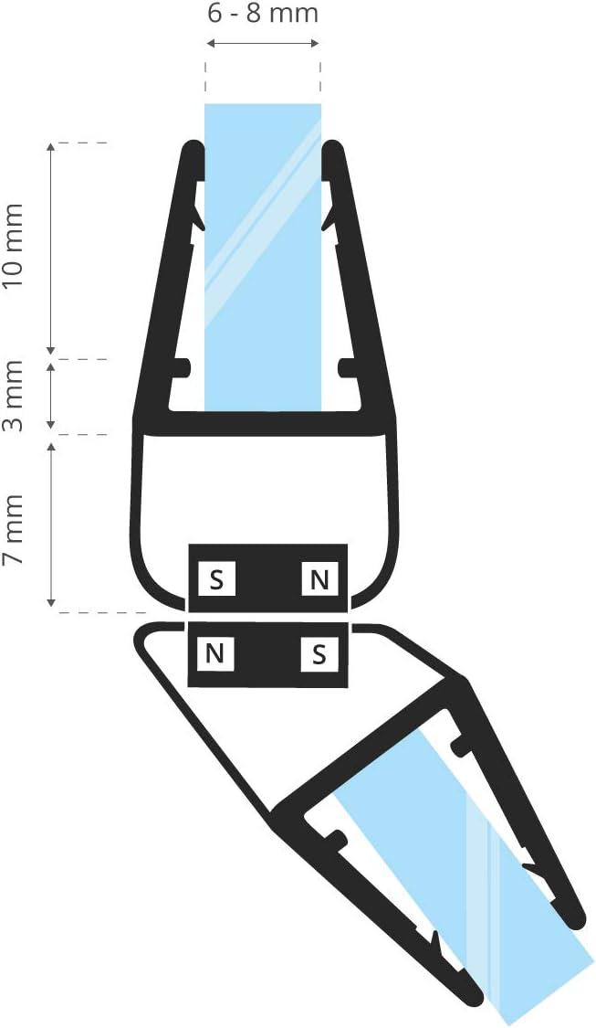 7 mm 2 pi/éces 8 mm UKM04 90/° 150 cm STEIGNER Kit de Joints Magn/étiques pour les Vitres d/'une /Épaisseur 6 mm