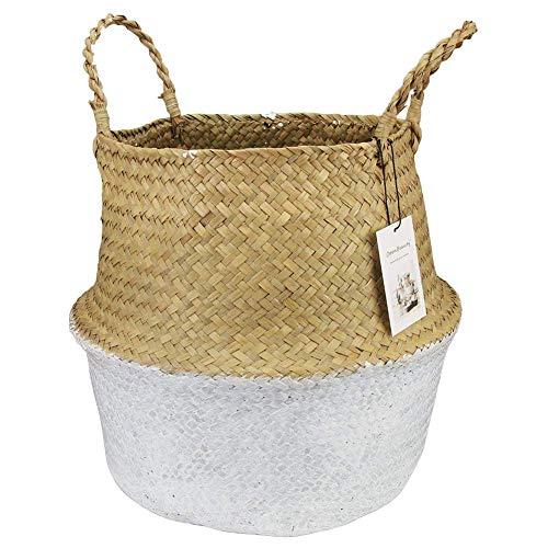 (t0uvtrukCs Storage Basketm, Seagrass Weaving Foldable Home Bucket Toy Sundries Clothes Plants Basket White XXXXL)