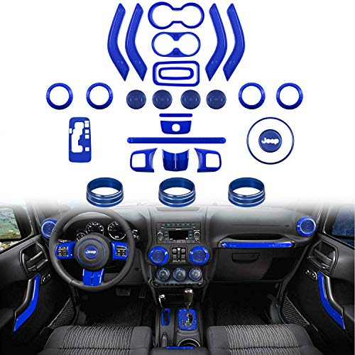 Center Console Trim - 28 PCS Full Set Interior Decoration Trim Kit-Door Handle & Cup Cover, Steering Wheel & Center Console Trim, Gear Frame, Air Outlet & AC Ring Cover for Jeep Wrangler JK JKU 2011-2018 2&4-Door(Blue)