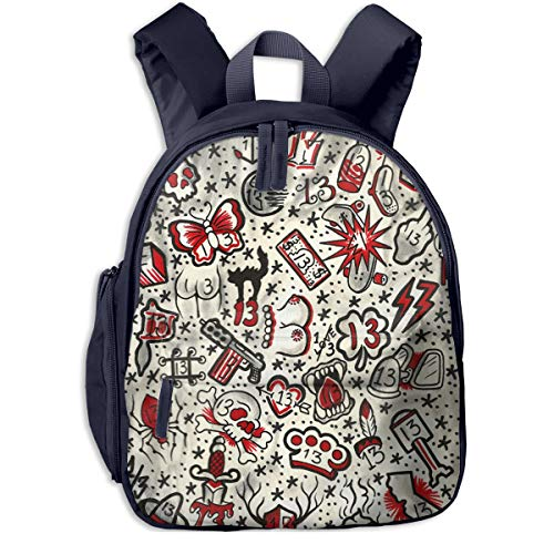 Traditional Lucky 13 Tattoo Children's School Backpacks For Students For Elementary School Lightweight Bags