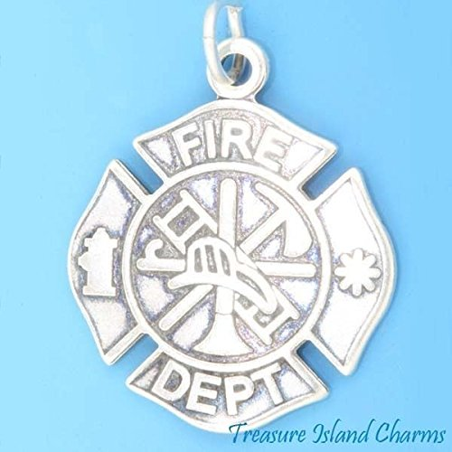 FIRE Department Badge Firefighter .925 Charm Pendant Made in USA ()