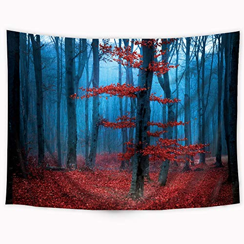 Riyidecor Red Forest Tapestry Frog Tapestry Blue Foggy Charcoal Tree Magic Nature Tapestry Beauty Natural Botanical Landscape Maple Leaf Wall Hanging Indigenous Bedroom Living Room 80x60Inch