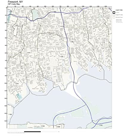 Amazoncom ZIP Code Wall Map of Freeport NY ZIP Code Map Not