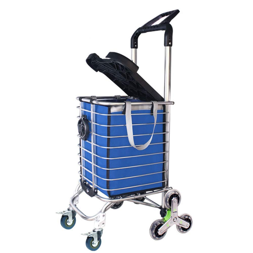 ZA Grocery Laundry Utility Foldable Shopping Cart, Aluminum Alloy 3-Wheel Stair Climbing with Cover (Can Sit) with Cup Holder Hook Luggage Rope Storage Bag