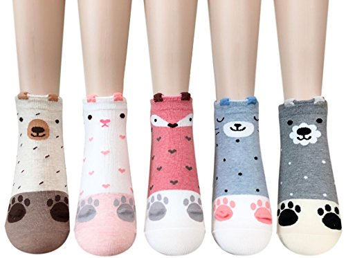 Cute Animal Print Womens Teen Girls Casual Cotton Socks Gifts Christmas Stocking Stuffers (Sweet Animals)