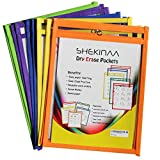 Dry Erase Pockets - 10 Pack Reusable Oversized pouches 10x13 inch - write and wipe sleeves - Erasable folder easy insert - School Supply