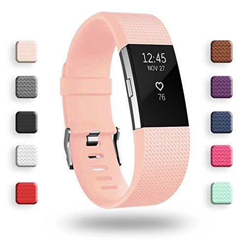 POY Replacement Bands Compatible for Fitbit Charge 2, Classic & Special Edition Sport Wristbands, Large Pink, 1PC
