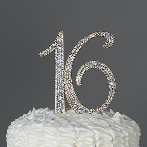 Rhinestone Bling Center (16 Cake Topper Gold 16th Birthday Party Supplies Sweet 16 Rhinestone Decoration (Gold))