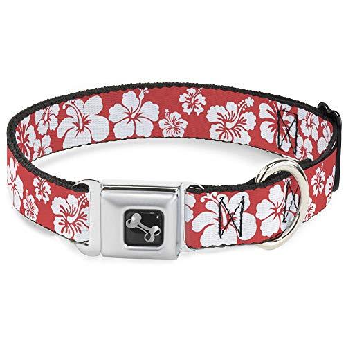 Buckle Down Hibiscus Light Red/White Dog Collar Bone, Medium/11-17