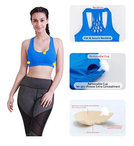 Queenie Ke Mujer sujetador de los deportes de la yoga en forma de rejilla Azul