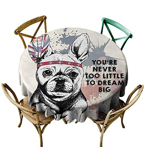 Tablecloth Factory Abstract,Animal Pub Dog with Tribal Feathers and Inspirational Quote Print,Black White Pink and Lilac,for Spring