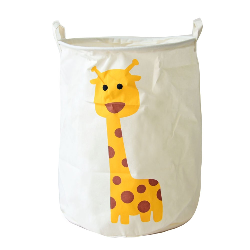 Dushow Cartoon Animals Large Size Laundry Basket Dirty Clothes Storage Basket Waterproof Cartoon Foldable (Giraffe)