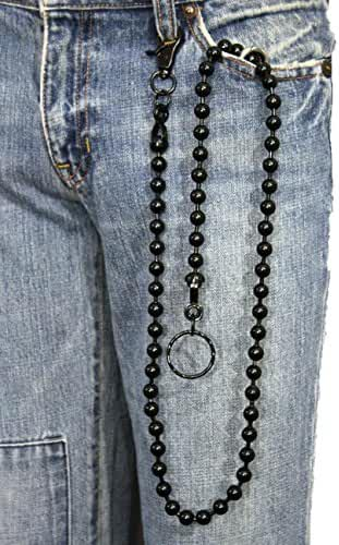 TFJ Men's Fashion Wallet Chain Big Metal Balls Extra Long 34 Inches