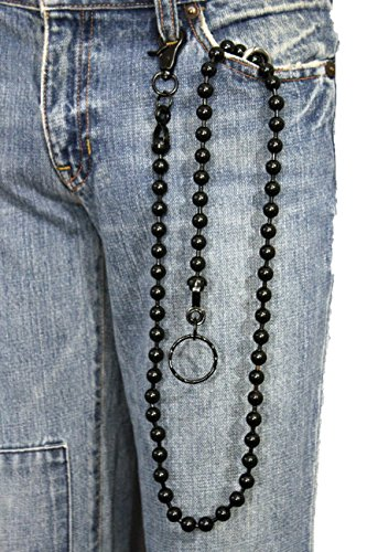 Big Ball Chain (TFJ Men's Fashion Wallet Chain Big Metal Balls Beads Extra Long Strong (Black))