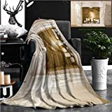 "Nalagoo Unique Custom Flannel Blankets White Decorative Fireplace With Candles Super Soft Blanketry for Bed Couch, Throw Blanket 60"" x 50"""