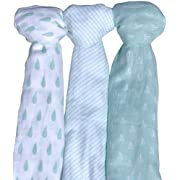 Muslin Baby Swaddle Blankets, 47x47 (3 Pack) Mint Blue and White Collection