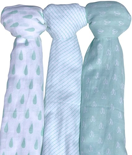 Muslin Baby Swaddle Blankets, 47x47 (3 Pack) Mint Blue and White (Collection Baby Sack)
