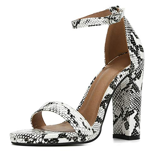 Snake 250 - Womens Block High Heel Sandals Ankle Strap Chunky Open Toe Pumps Dress Party Shoes PU Snake-40 (250/US8.5)