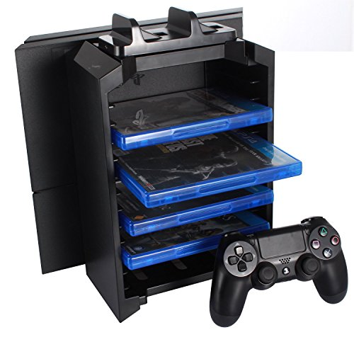 KONKY – PS4 Game Storage Tower Controller Charger, Multifunctional Detachable Playstation 4 Console Vertical Stand & CD Game Disk Holder, Blue-Ray Films Storage & PS4 Dual USB Fast Charging Dock