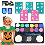 Halloween Face Paint, 49 Pack Washable 12 Colour Face Painting Kits Water Based Non Toxic Apply for Sensitive Skin with 30 Stencils, 2 Hair Chalk Dye, 2 Brushes, 2 Sponges, 1 Glitter for Boys Girls Adults All Ages Halloween Party Makeup Kit Body Paint Supplies, FDA Approved