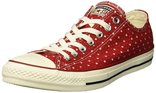 Converse Unisex Chuck Taylor Perforated Stars Low Top Sneaker, Gym red/Garnet/Athletic Navy, 3 M US Men's Size/5 M US Women's Size (Star Low Shoes)