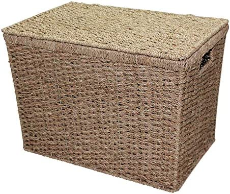 Home-ever Seagrass Lidded Storage Chest Basket Box (Small)