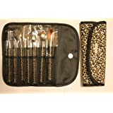 Beauty Treats 7 Piece Makeup Brush Set in a Leopard Print Brush Pouch