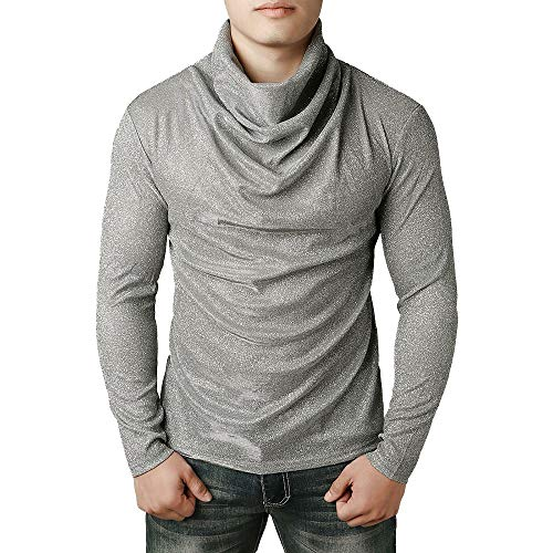 Wintialy Fashion Men Cowl Neck Blouse Long Sleeve Fit Pollover Turtleneck Shirt Top Silver ()