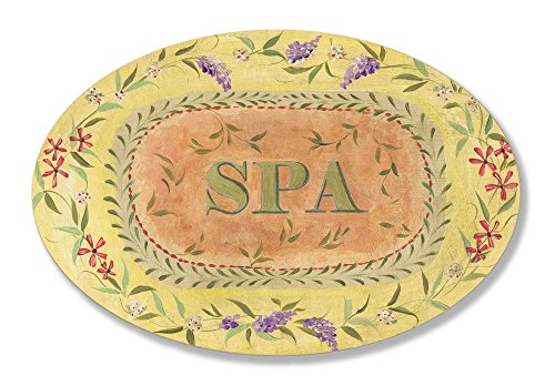 The Stupell Home Decor Collection Spa Yellow with Floral border Oval Bathroom Wall Plaque ()