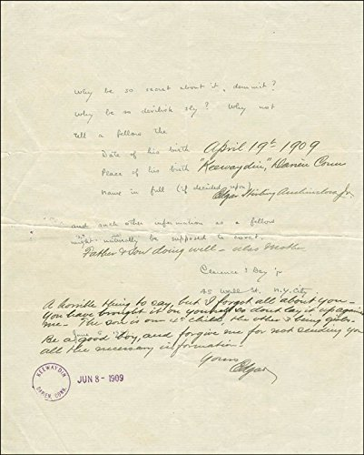 Edgar Stirling Auchincloss, Jr. Autograph Note Signed 06/09/1909