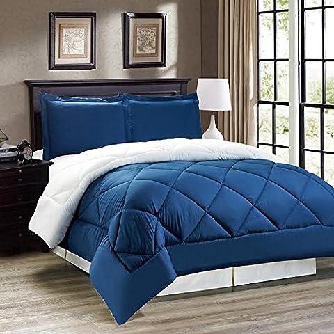 Legacy Decor 3pc Down Alternative, Reversible Comforter Set Navy Blue and White, King Size - Blue Reversible Comforter