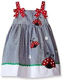 Girls' Navy Check Seersucker Dress With Ladybug Appliques