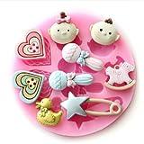 Foxnovo Cute Soft Silicone Non-stick Sugarcraft Fondant Cutters Cake Baking Mould Mold - 2 pcs/set (Pink)