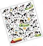 "Custom & Decorative {0.25"" to 1"" Inch} 32 Piece Pack of Mid-Size Stickers for Arts, Crafts & Scrapbooking w/ Multiples of Cute New Simple Cartoon Dairy Cow Cheese Farm Style {Multicolor}"