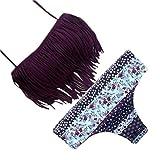 Women Girls Sexy Bikini Padded Set Floral Swimwear Tassel Swimsuit(S,Dark Purple)