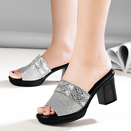 Nuova Pantofole Ruvida In Spillo Corrisponde Madre Tutto Signore La Tacchi silvery A Estate Età Pantofole Anziani Moda Di 7Cm KPHY Indossare Mezza vfPntFt