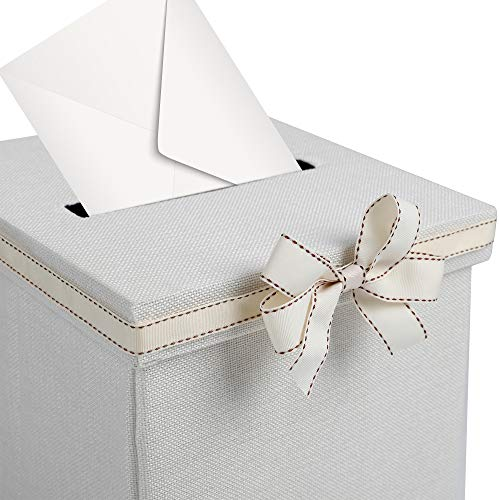 - FLUYTCO Wedding Card Envelope Box - Linen Fabric & Removable Ribbon Bow - Collapsible - Perfect for Weddings, Baby Showers, Birthdays, Graduations - Large Size, 100+ Cards