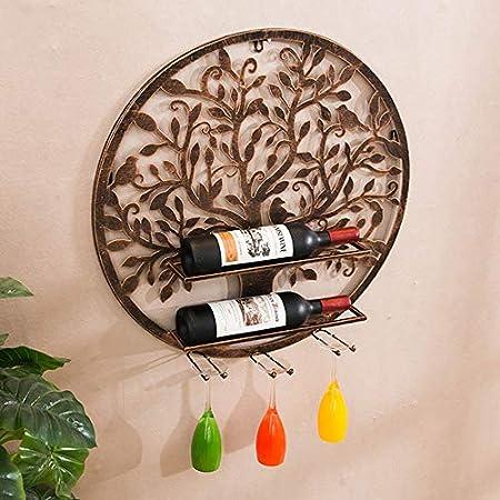 TLMYDD Decoración de Estante for Vino Colgante de Pared vinoteca Estante de Pared gabinete de Vino vinoteca Colgante Estante de Vino Estante cubilete Redondo 60x13x60cm Adornos