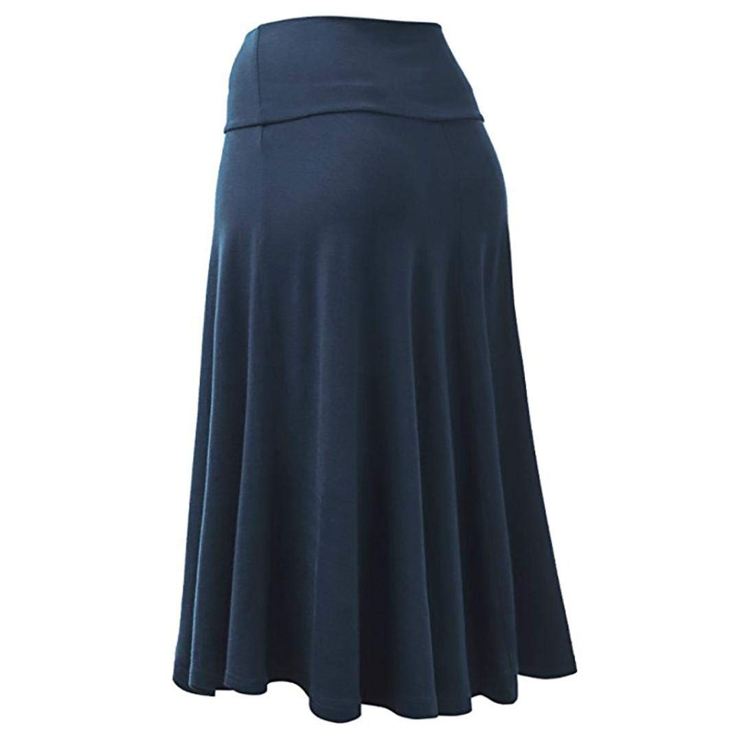 Jinjin Womens Skirt - High Waist Uniform Pleated Solid Midi Skirt with Flare Hem (Blue, XXXL) by Jinjin (Image #2)
