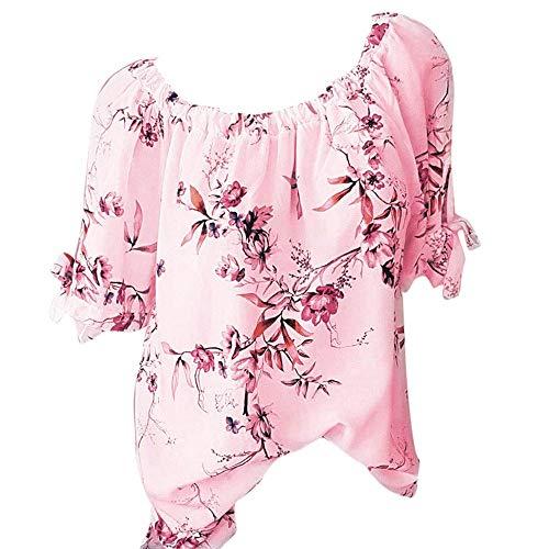 Women Chiffon Button Top Casual Floral Printed T-Shirt Irregular Hem Blouse Pink ()