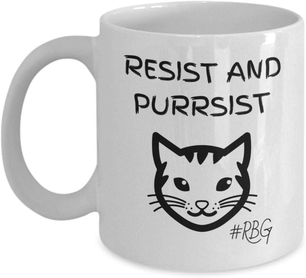 Lplpol Ruth Bader Ginsburg Abogado regalo compañero de trabajo resistencia y purrsista RBG Regalos para Lawyets Law School Student Regalo Feminista Regalo, blanco, 0,3 l