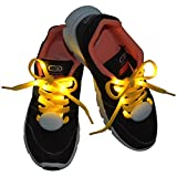 Lystaii LED Light Waterproof Shoelaces Shoestring Battery Powered Flash Lighting the Night for Party Hip-hop Dancing Skating Running Cosplay Decoration Running (Yellow)