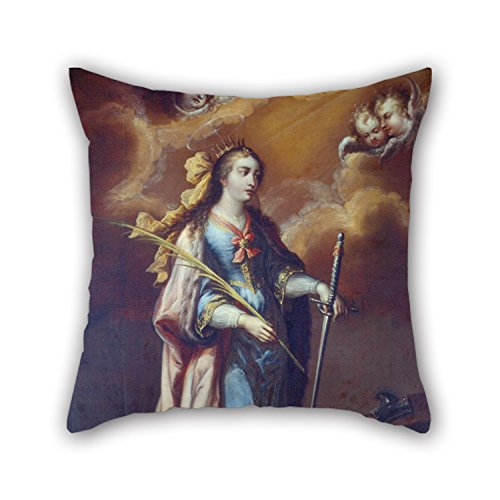 (Oil Painting Juan Correa - Saint Catherine Of Alexandria Pillow Shams 16 X 16 Inches / 40 By 40 Cm Gift Or Decor For Son,bar,family,monther,kids Boys,home Theater - Two Sides)