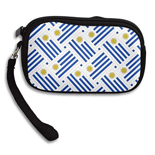 (Coin Purse Uruguay Flag Weave Zipper Wallet Mini Wristlet Cash Phone Holder Change Pouch)