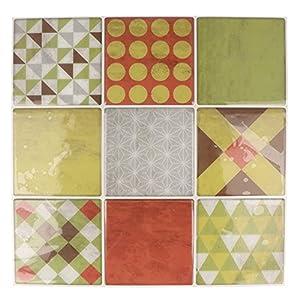 Artemio 9fogli mosaico rosso autocollante, Multicolore, 9quadretti di 8x 8cm