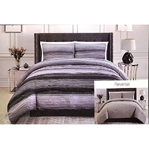 Christian Siriano New York Queen 3-Piece Reversible Bedding Set, Purple/White by Unknown